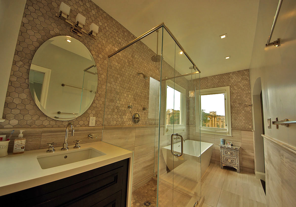 Limestone Tile Bathroom Remodel In Marina District San Francisco